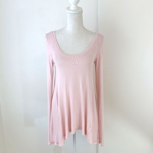Free People Pink Ribbed Long Sleeve Swing Tee {LH}